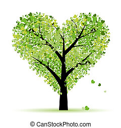 miłość, liść, drzewo, serca, valentine
