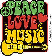 miłość, muzyka, rasta, kolor, pokój