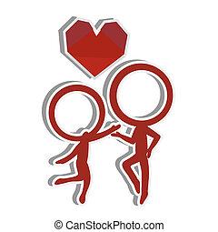 miłość, para, sylwetka, figura, wtykać