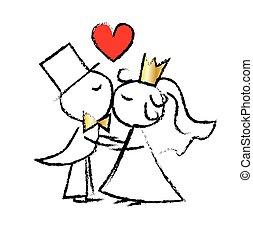 miłość, poślubna para