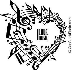 miłość, pojęcie, muzyka, czarnoskóry, biały, design.