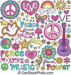 miłość, pokój, muzyka, notatnik, doodles