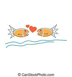 miłość, poznaczcie., rysunek, kreska, ryba ikona