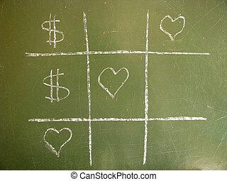 miłość, przeciw, pieniądze, tik-tac-stonują, zwycięstwo