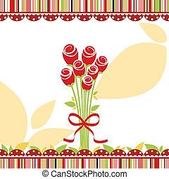 miłość, róża, powitanie, wiosna, karta, kwiaty, czerwony