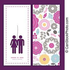 miłość, wibrujący, para, scaterred, powitanie, sylwetka, wektor, szablon, zaproszenie, kwiatowy wzór, ułożyć, karta