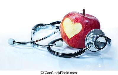 miłość, -, zdrowie, jabłko, pojęcie