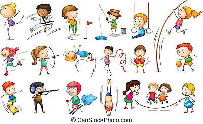 miły, różny, sport dziecisków