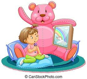 miś, scena, dzieciaki, oglądając tv