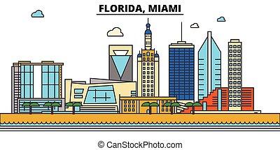 miami., strokes., sylwetka, punkty orientacyjny, zabudowanie, skyline:, concept., krajobraz, wektor, floryda, kreska, płaski, architektura, panorama, miasto, editable, projektować, ulice, ilustracja, icons.