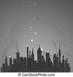 miasto, abstrakcyjny, gwiazdy