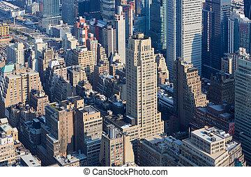 miasto, antena, światło słoneczne, rano, sylwetka na tle nieba, york, nowy, manhattan, prospekt