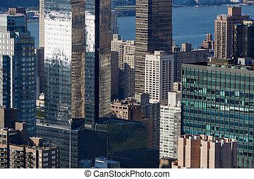 miasto, antena, drapacze chmur, nowoczesny, szkło, sylwetka na tle nieba, york, nowy, manhattan, prospekt
