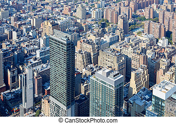 miasto, antena, drapacze chmur, sylwetka na tle nieba, york, nowy, manhattan, prospekt