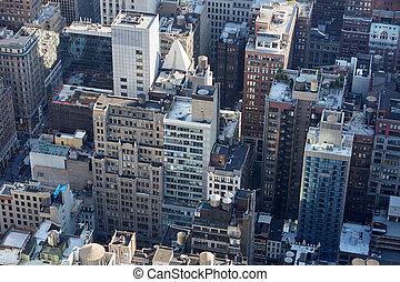 miasto, antena, drapacze chmur, szczyty, dach, sylwetka na tle nieba, york, nowy, manhattan, prospekt