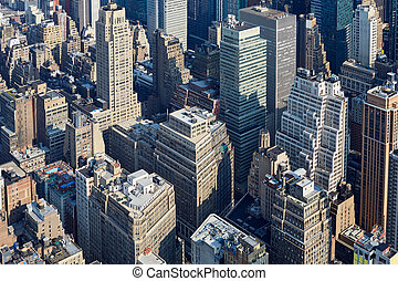 miasto, antena, drapacze chmur, ulice, sylwetka na tle nieba, york, nowy, manhattan, prospekt