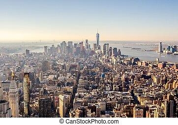 miasto, antena, sylwetka na tle nieba, york, nowy, manhattan