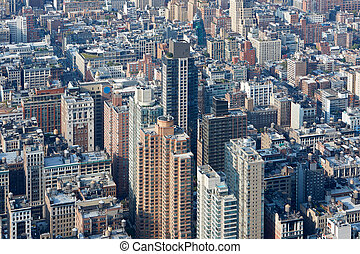 miasto, antena, sylwetka na tle nieba, york, nowy, manhattan, prospekt