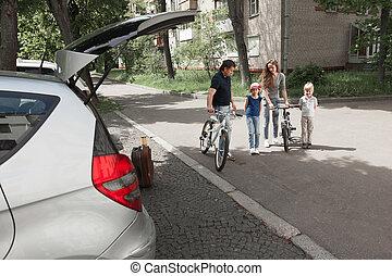 miasto, bicycles, ulica., rodzina