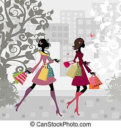 miasto, dziewczyny, pieszy, zakupy, dookoła