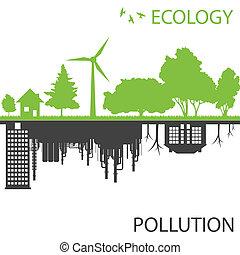 miasto, ekologia, przeciw, wektor, zielone tło, skażenie