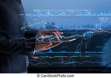 miasto, finansowy, hydromonitor, tabliczka, ludzie, kontrola, wykres, ekran, wykres, faktyczny, handlowy, lichtarz, tło, poprowadzony, analizując, dane, targ, pień