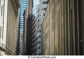 miasto, finansowy okręg, zabudowanie, york, nowy