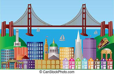 miasto, francisco, san, panorama, ilustracja, sylwetka na tle nieba