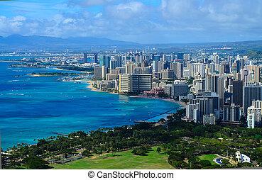 miasto, hawaje, honolulu, prospekt