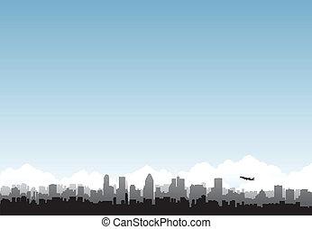 miasto, horyzont