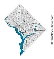 miasto, illustration., wolny, cityscape., waszyngton, królewskość, szczegółowy, wektor, mapa