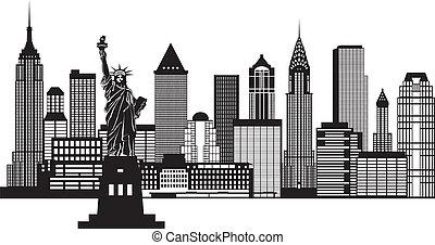 miasto, ilustracja, sylwetka na tle nieba, czarnoskóry, york, nowy, biały