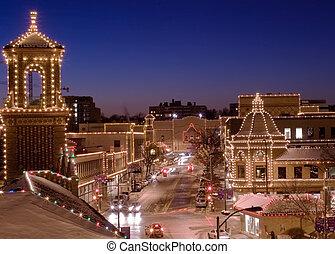 miasto, kansas, plac, światła