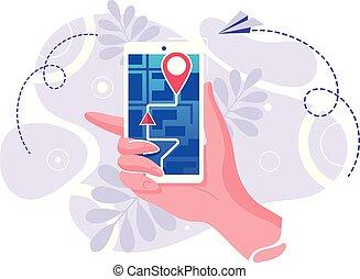 miasto, kartografia, wóz, system, tabliczka, mapa, smartphone, rozmieszczenie, ścieżka, gps, nawigacja, wystawa, wybrukowany