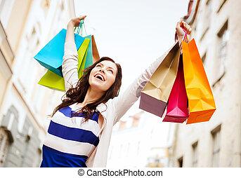 miasto, kobieta shopping, mnóstwo