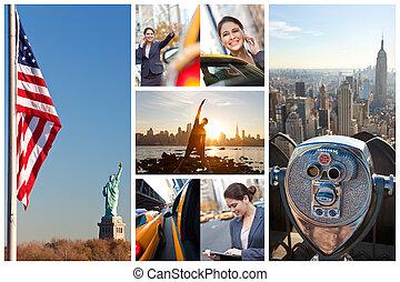 miasto, kobieta, styl życia, montaż, młody, york, nowy
