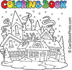miasto, kolorowanie, zima, wizerunek, 1, książka