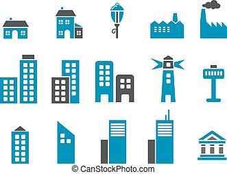 miasto, komplet, ikona