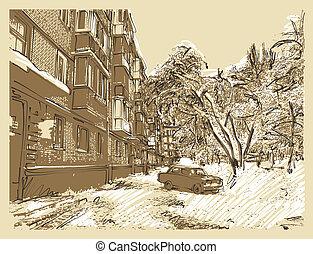 miasto krajobraz, zima