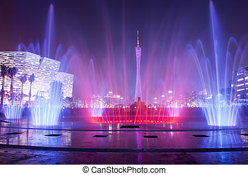 miasto, kwiat, fontanna, guangzhou, plac