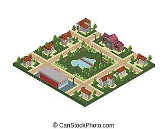 miasto, mapa, isometric, ilustracja, odizolowany, drzewa, lake., domy, wektor, prywatny, village., staw, chata, mały, albo, white.