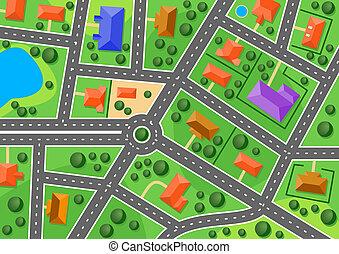 miasto, mapa, mały, albo, przedmieście