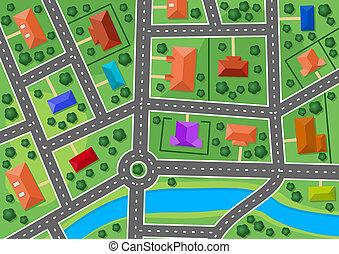 miasto, mapa, mały, przedmieście, wieś, albo