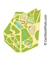 miasto, mapa, nawigacja, chart., turysta, rozmieszczenie, miasto, gardens., geograficzny