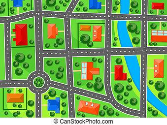 miasto, mapa, przedmieście