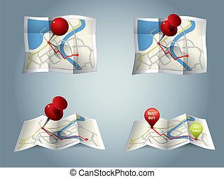 miasto, marszruta, gps, mapa, ikony