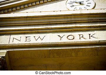 miasto, natchniony, szczegół, york, front, nowy, hala