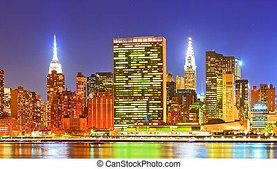 miasto, nowy, usa., york