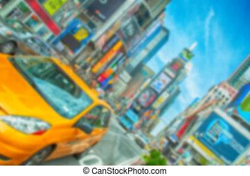 miasto, nyc, defocus, wizerunek, zamazany, york, tło, nowy