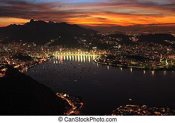 miasto, od, rio, zachód słońca, noc, janerio